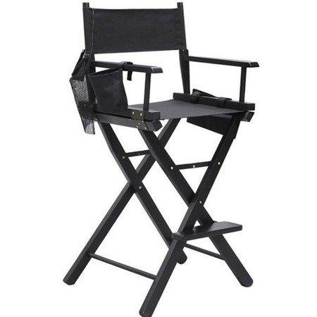 Krzesło składane do makijażu z podnóżkiem oraz sakwami na akcesoria